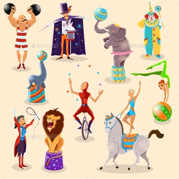 Circus Vintage Pictograms Set Arrangement - Miscellaneous Conceptual
