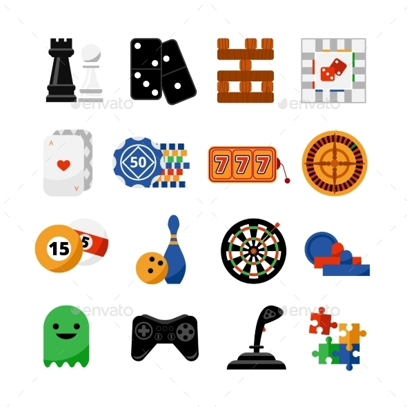 Gambling Casino Games Flat Icons Set - Man-made objects Objects