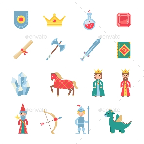 Medieval Games Symbols Flat Icons Set - Miscellaneous Icons