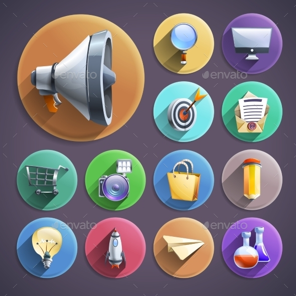 Digital Marketing Flat Round Icons Set - Business Icons