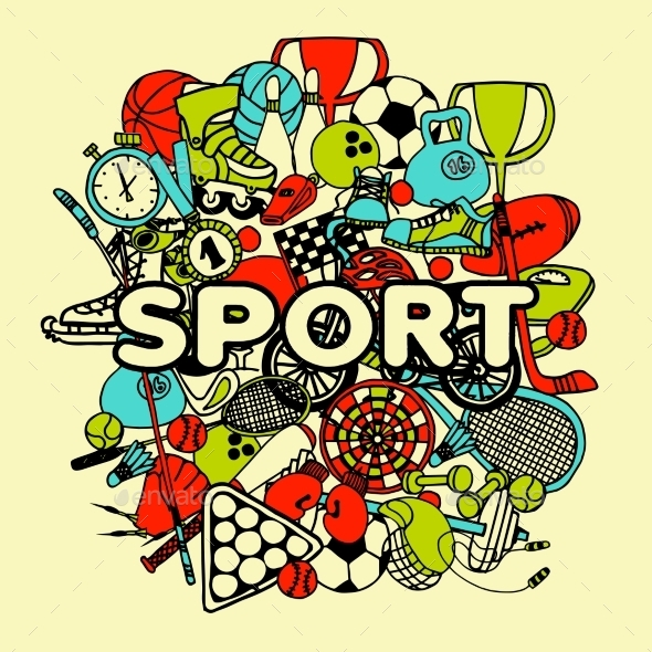 Sport Doodle Collage - Sports/Activity Conceptual