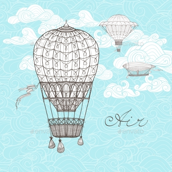 Vintage Sky Illustration - Backgrounds Decorative