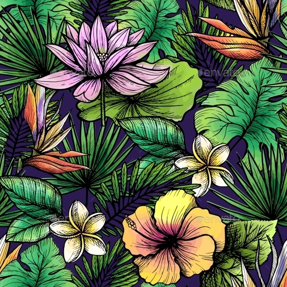 Tropical Seamless Pattern - Backgrounds Decorative