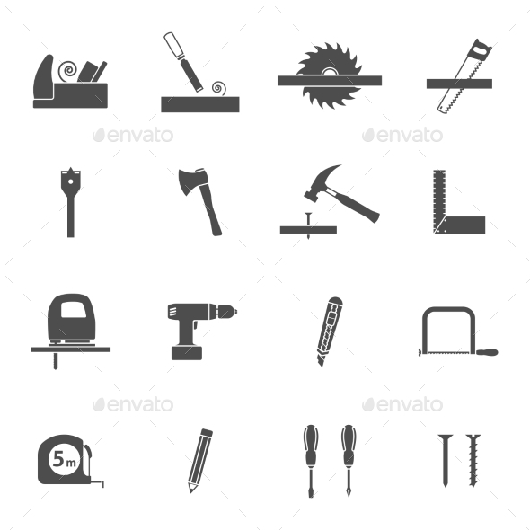 Carpentry Tools Black Icons Set  - Man-made objects Objects