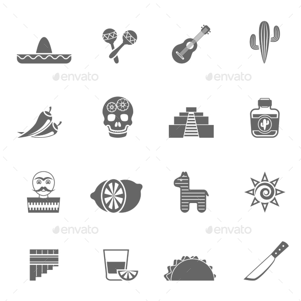 Mexican Culture Symbols Black Icons Set