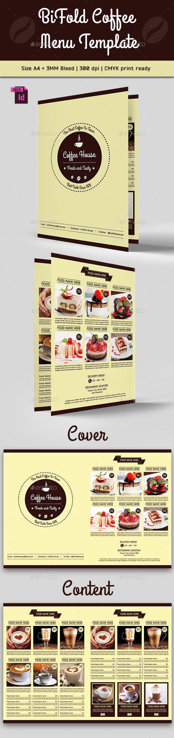 BiFold Coffee Menu Template - Food Menus Print Templates