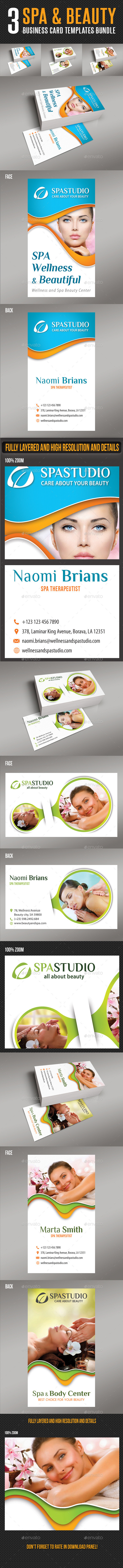 3 in 1 Spa And Beauty Business Card Bundle - Industry Specific Business Cards
