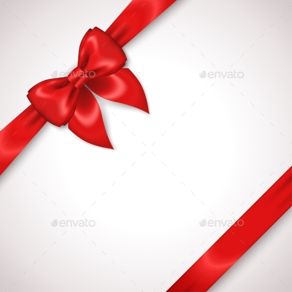 Satin Red Ribbon With Bow Isolated On White