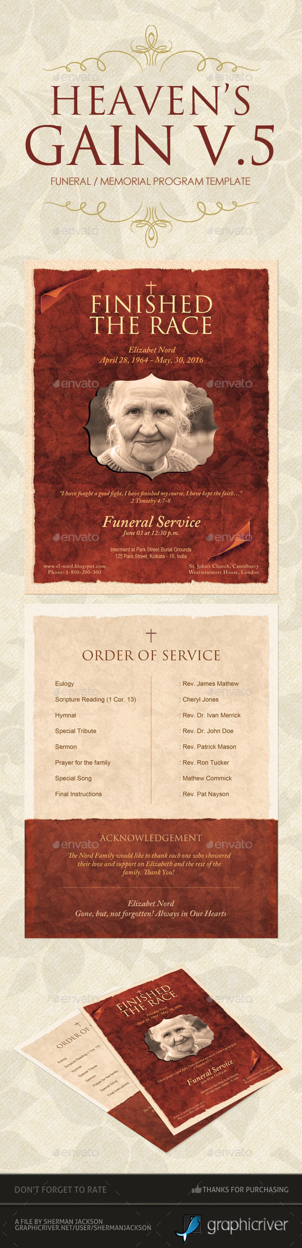 Heaven's Gain - Funeral / Memorial Program V.5 - Miscellaneous Print Templates