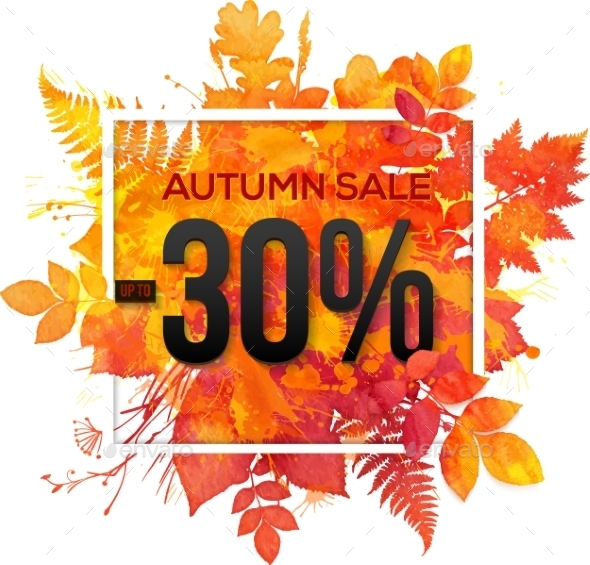 Autumn Sale 30 Percent Discount Vector Banner - Retail Commercial / Shopping