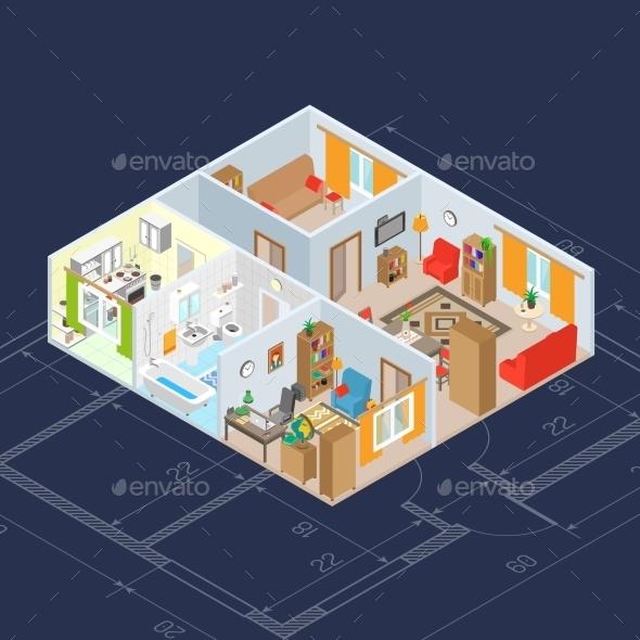 Isometric Interior Concept - Objects Vectors