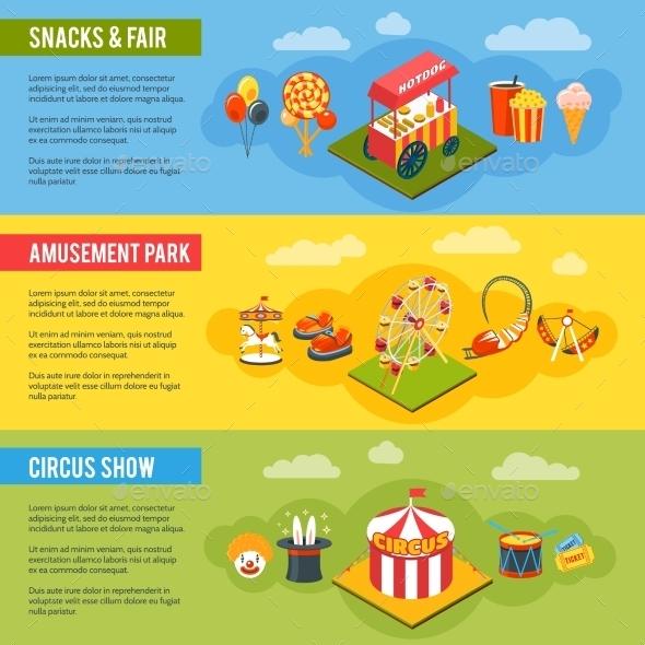 Carnival Circus Concept Flat Banners Set - Miscellaneous Conceptual