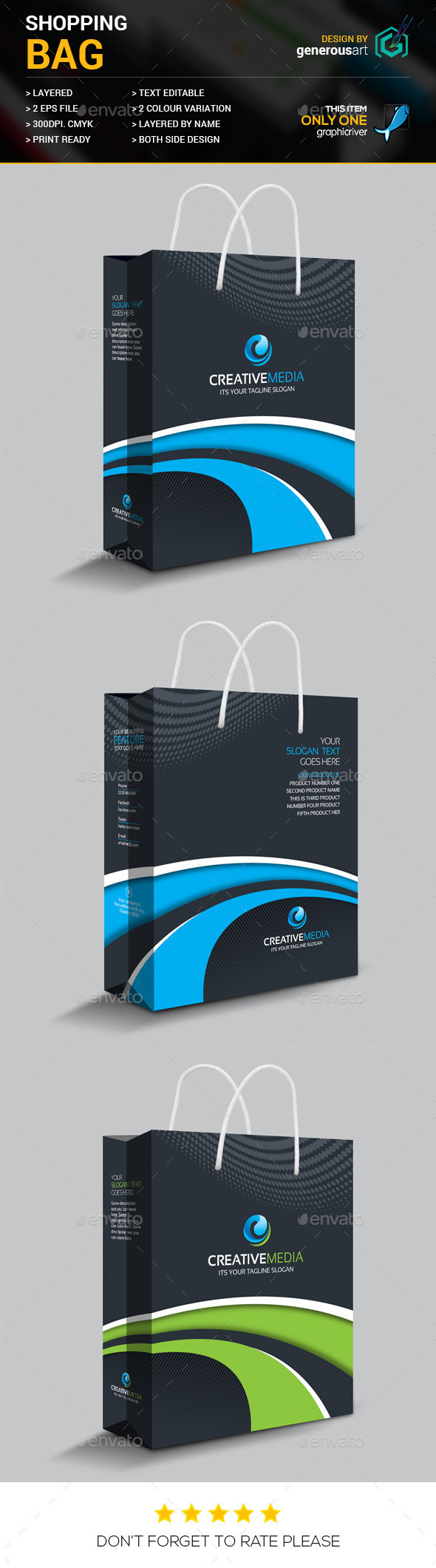Creative Shopping Bag - Packaging Print Templates