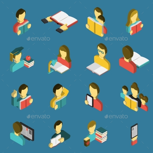 Education Reading Isometric Icons Set  - Miscellaneous Characters