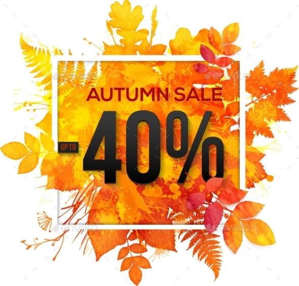 Autumn Sale 40 Percent Discount Vector Banner - Retail Commercial / Shopping