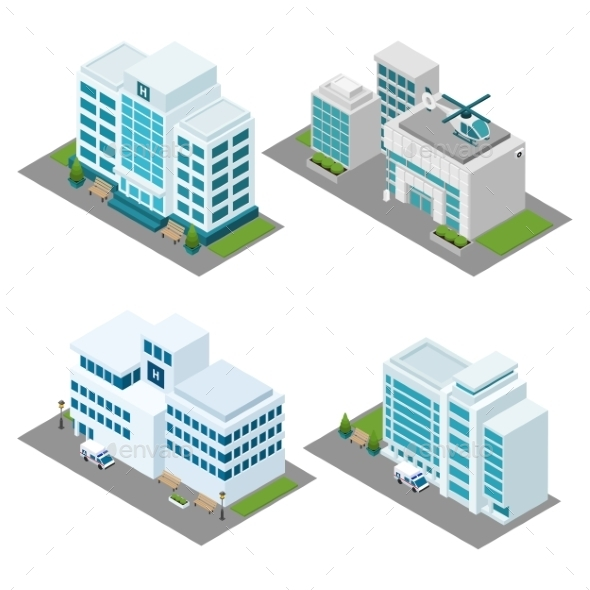 Hospital Isometric Icons Set