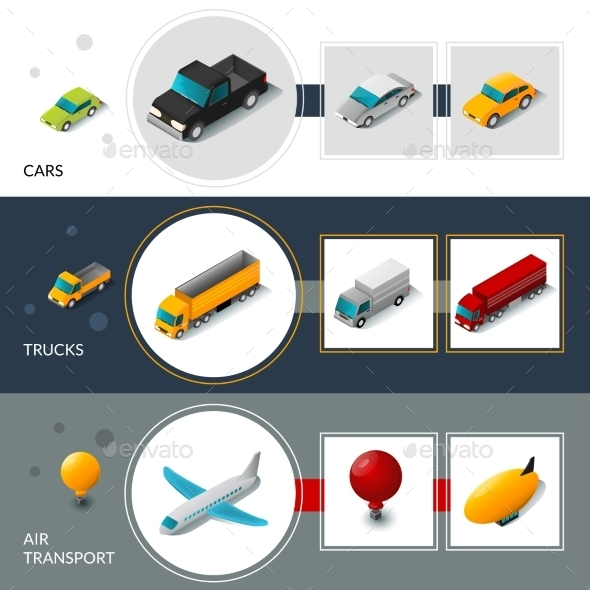 Isometric Transport Banners - Miscellaneous Vectors