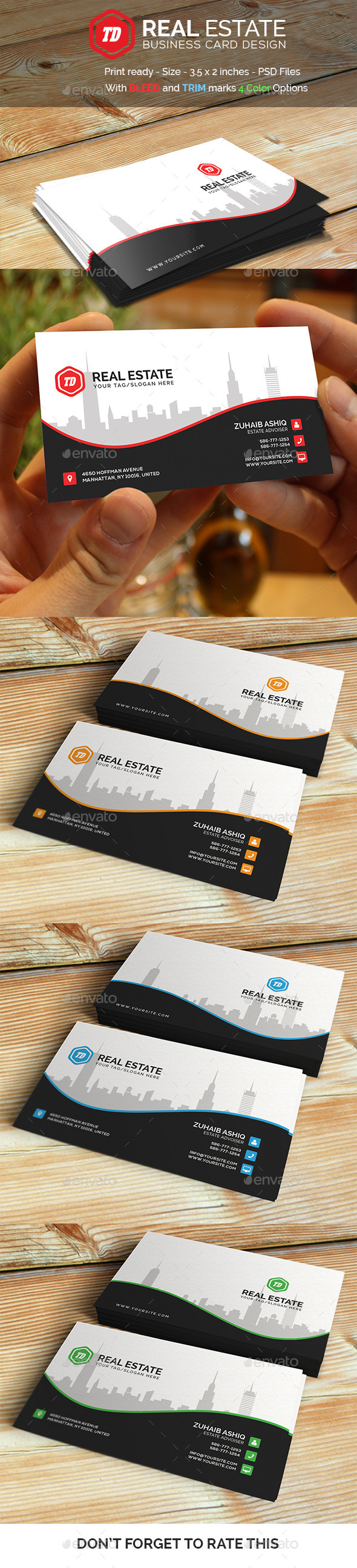 Real Estate - Business Card Template - Corporate Business Cards