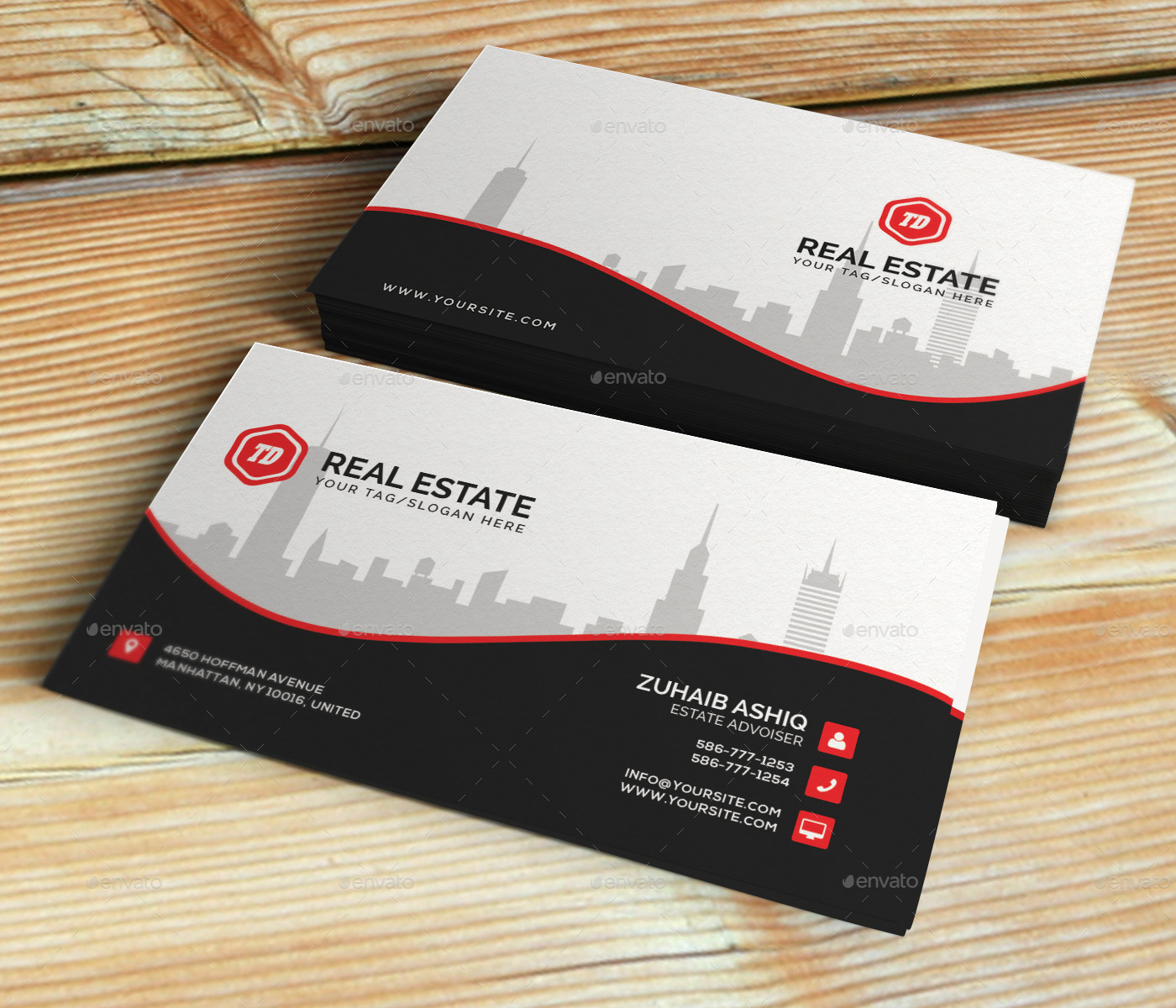 Real estate business card template by themedesk graphicriver real estate business card template corporate business cards preview01 previewg reheart Gallery