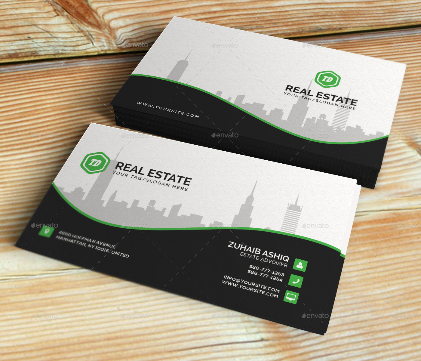 Real Estate Business Card Template By Themedesk GraphicRiver - Real estate business card template