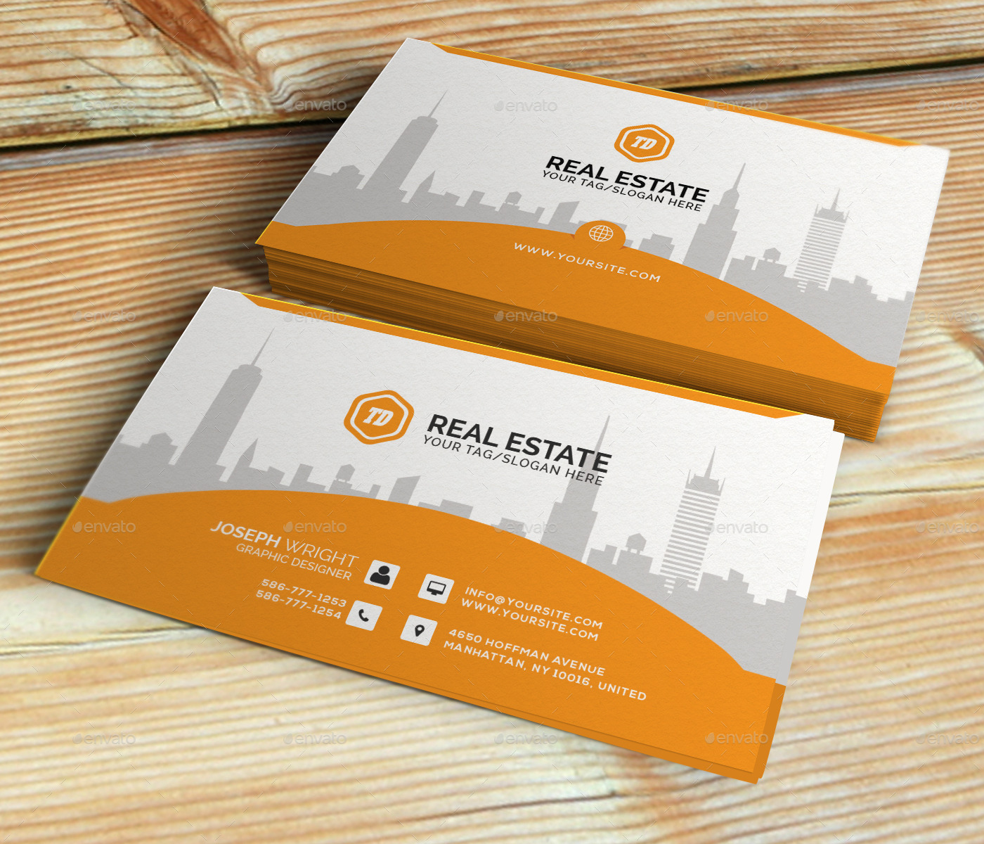 Real Estate - Business Card Template by themedesk | GraphicRiver