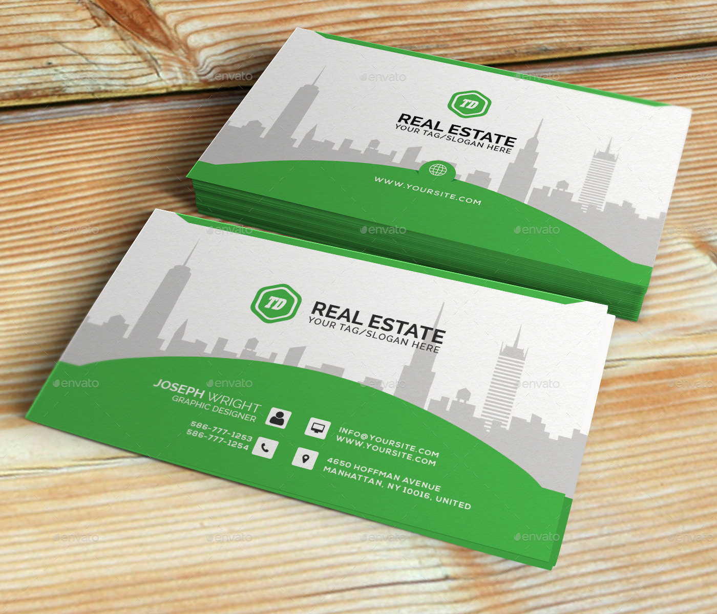 Real Estate Business Card Template By Themedesk GraphicRiver - Real estate business card templates