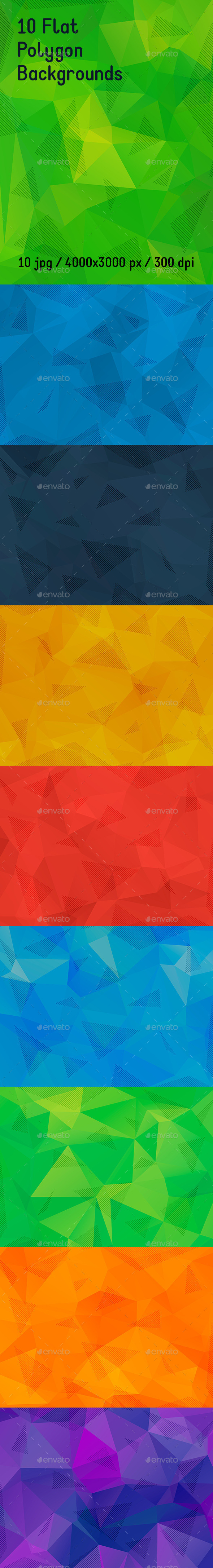 10 Flat Polygon Backgrounds - Abstract Backgrounds