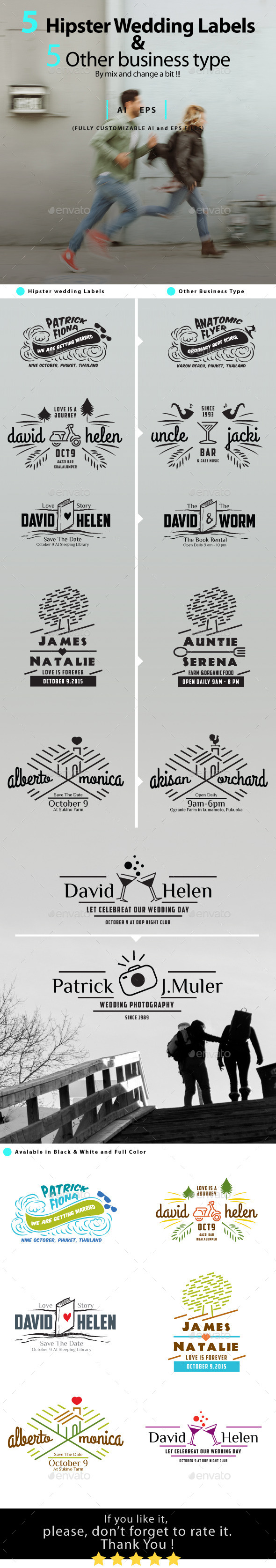 Hipster Wedding Label Badges - Badges & Stickers Web Elements