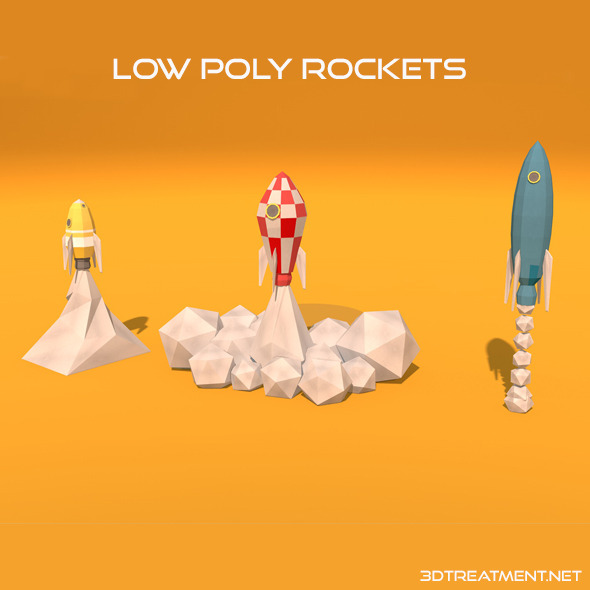 3 Low Poly Rockets - 3DOcean Item for Sale