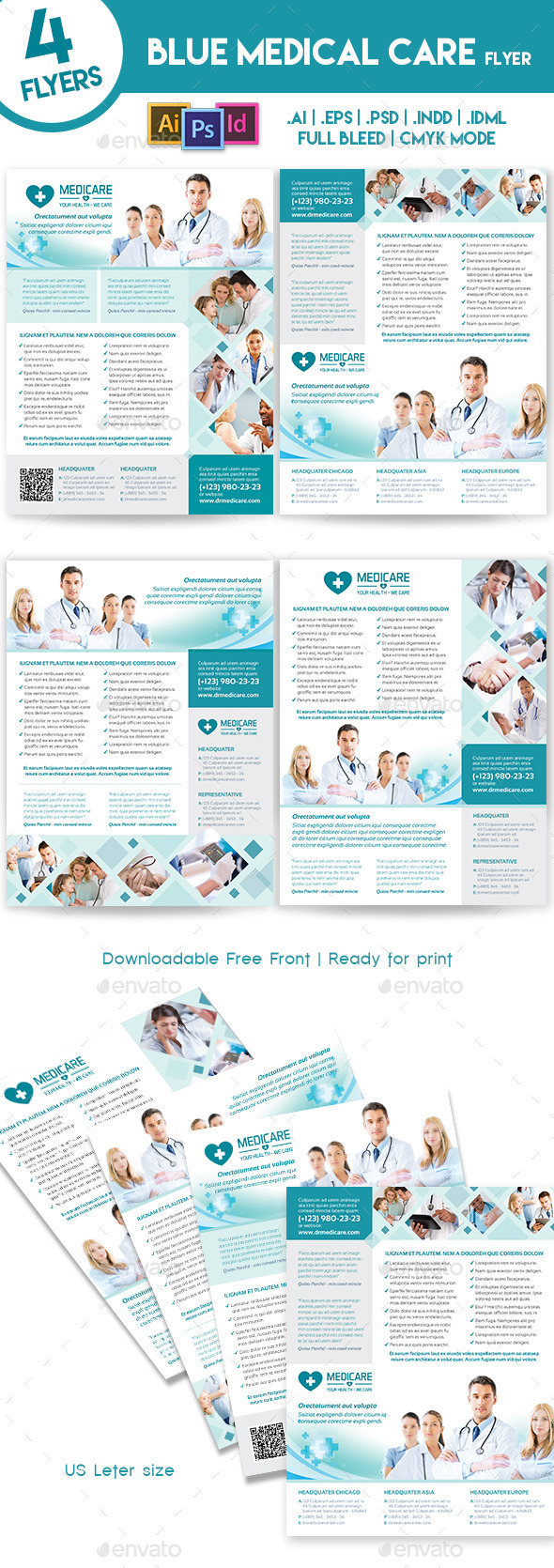 Blue Medical 4 Flyers Template - Corporate Flyers