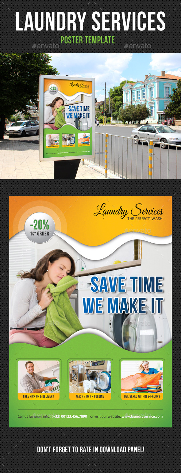 Laundry Services Poster Template - Signage Print Templates