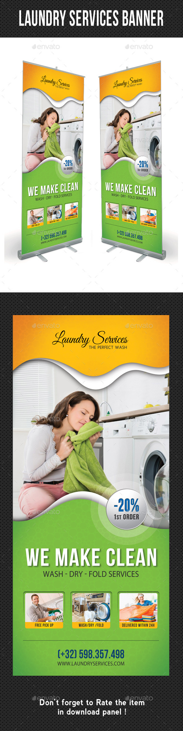 Laundry Services Banner Template - Signage Print Templates