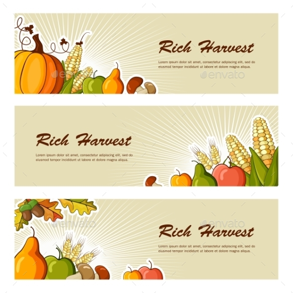 Rich Harvest Flat Banners Set - Backgrounds Decorative