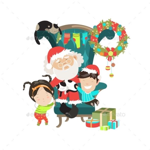 Santa Clause with Happy Kids  - Christmas Seasons/Holidays