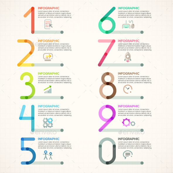 Modern Infographics Outline Numbers