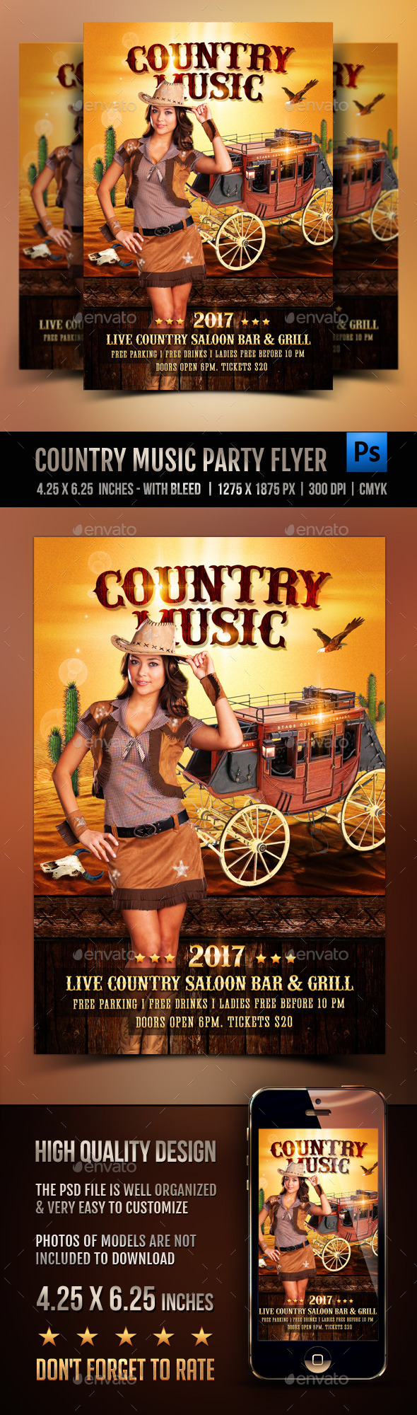Country Music Flyer - Clubs & Parties Events