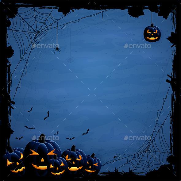 Blue Halloween Background with Pumpkins