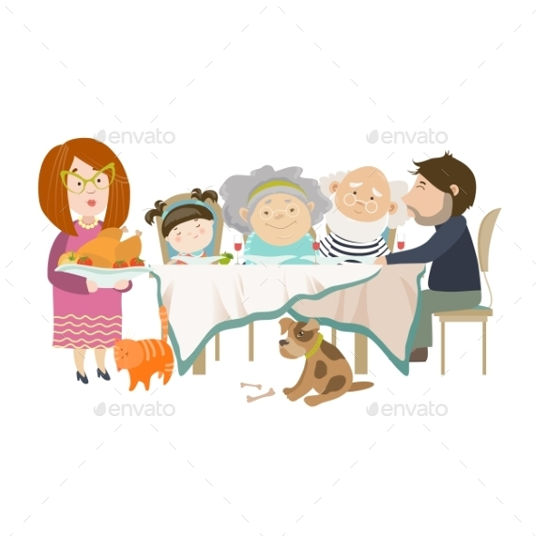 Portrait of a Family Sitting at the Table  - People Characters
