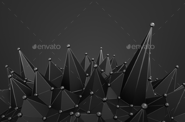 Abstract 3D Rendering Of Structure With Spheres - Tech / Futuristic Backgrounds