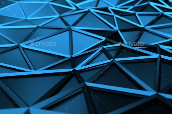 Abstract 3D Rendering Of Low Poly Blue Surface - 3D Backgrounds