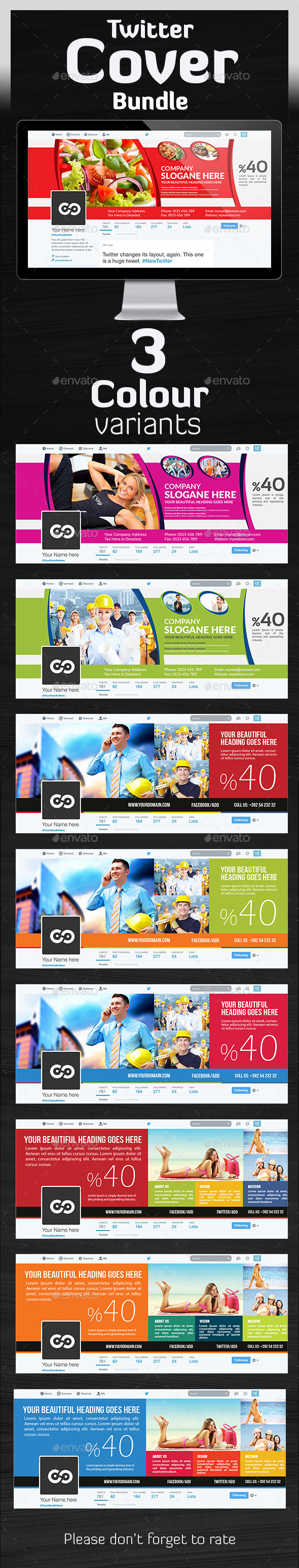Twitter Header Bundle  - Twitter Social Media