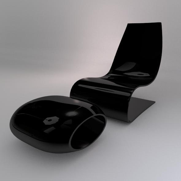 Modern Chair & Footrest - 3DOcean Item for Sale