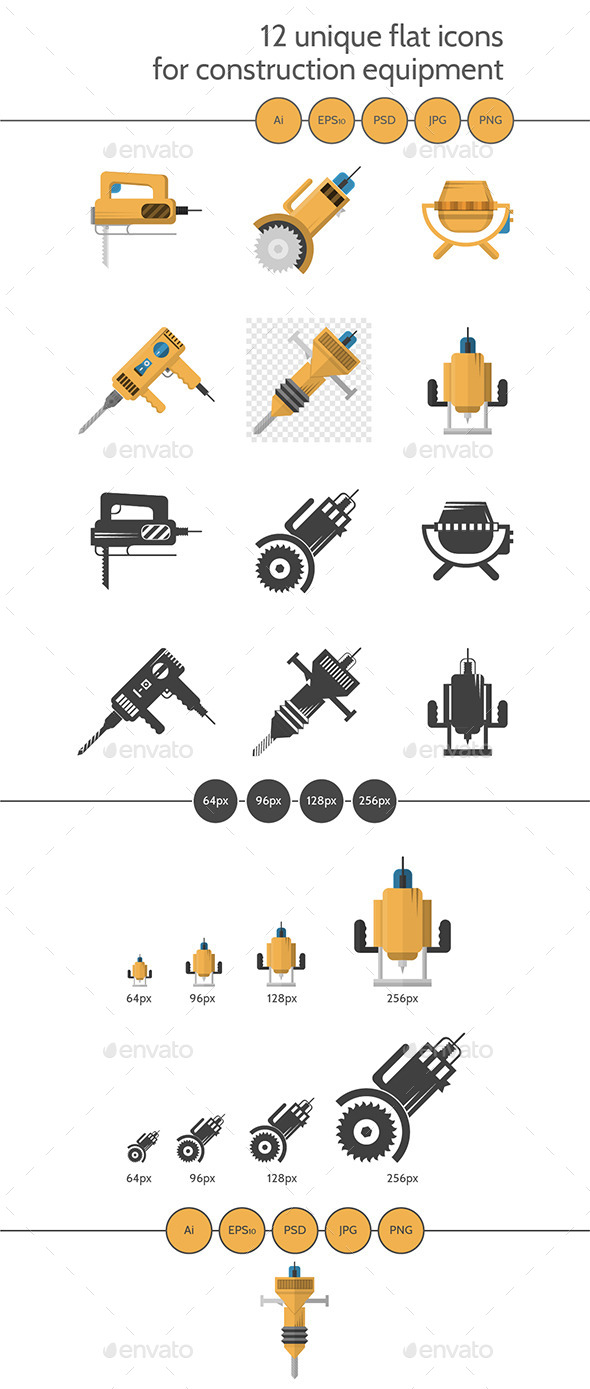 Colored Icons of Construction Equipment - Man-made Objects Objects