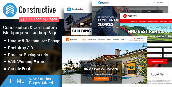 Constructive-Contractors Multipurpose HTML Landing Page - Landing Pages Marketing