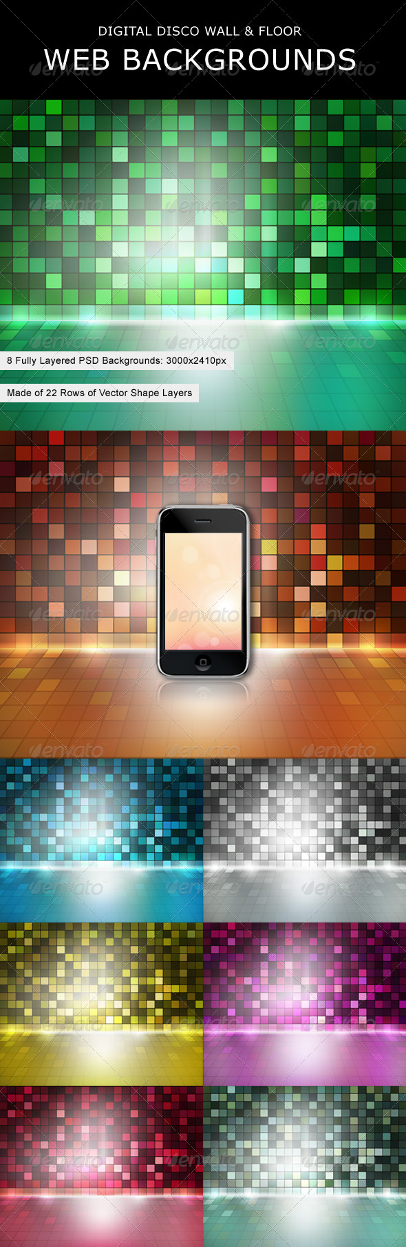Digital Disco Wall & Floor Web Backgrounds - Backgrounds Graphics