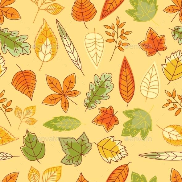 Colorful Autumn Leaves Seamless Pattern - Seasons Nature