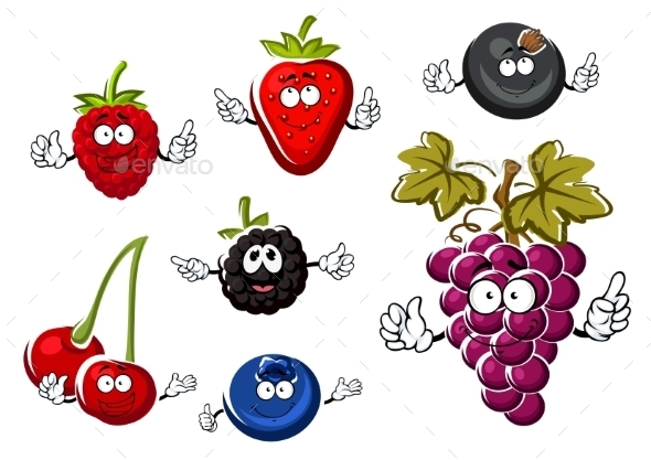 Assorted Isolated Fresh Cartoon Berries - Food Objects