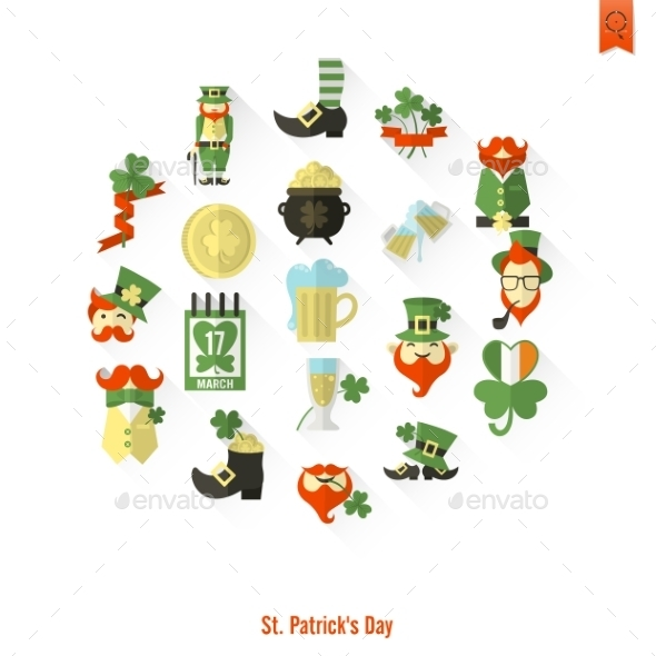 Saint Patricks Day Isolated Icon Set - Seasons/Holidays Conceptual