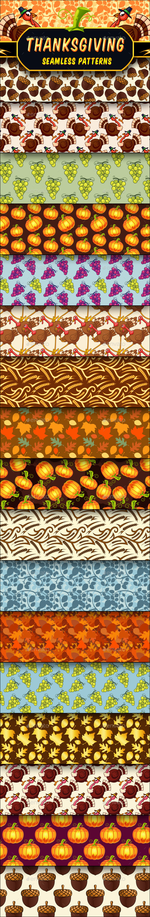 Thanksgiving Seamless Patterns Set - Seasons/Holidays Conceptual