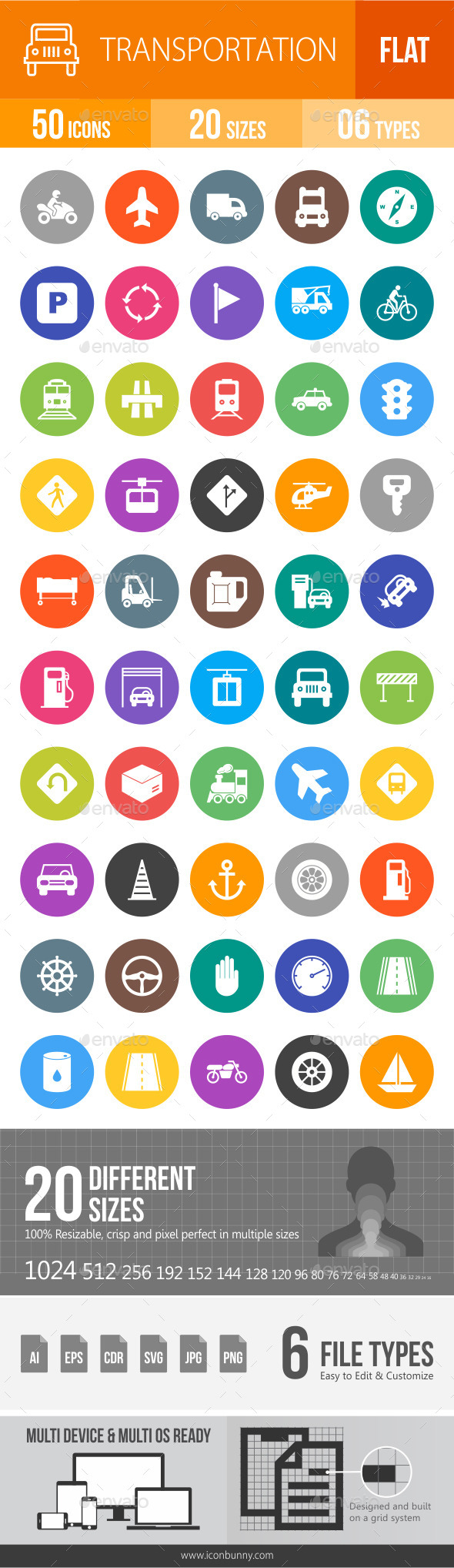 Transport Flat Round Icons - Icons